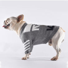 Load image into Gallery viewer, Woof-White Knit Dog Sweater - Supreme Paw Supply