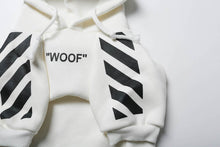 "Load image into Gallery viewer, Woof-White ""Woof"" Dog Hoodie - White - Supreme Paw Supply"