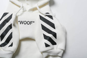 "Woof-White ""Woof"" Dog Hoodie - White - Supreme Paw Supply"
