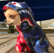 Load image into Gallery viewer, Bathing Pup Half n Half Camo Shark Dog Hoodie - Supreme Paw Supply