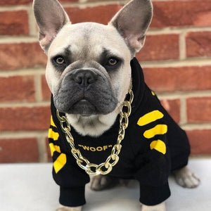 "Woof-White ""Woof"" Dog Hoodie - Yellow - Supreme Paw Supply"
