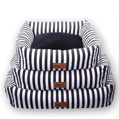 Classic Luxury Striped Dog Bed - Supreme Paw Supply