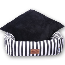 Load image into Gallery viewer, Classic Luxury Striped Dog Bed - Supreme Paw Supply