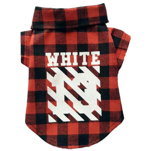 Woof-White Flannel Dog Shirt - Supreme Paw Supply