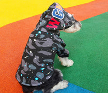Load image into Gallery viewer, Bathing Pup Space Gray Shark Dog Hoodie - Supreme Paw Supply