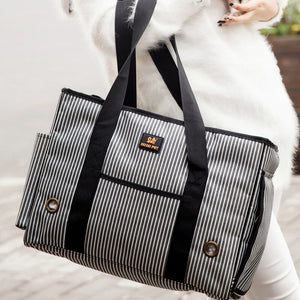 Black & White Striped Dog Carrier - Supreme Paw Supply