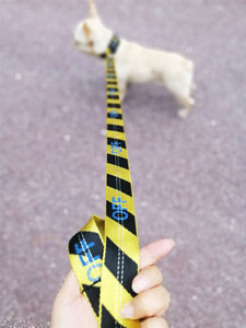 Woof-White Striped Collar & Leash - Supreme Paw Supply