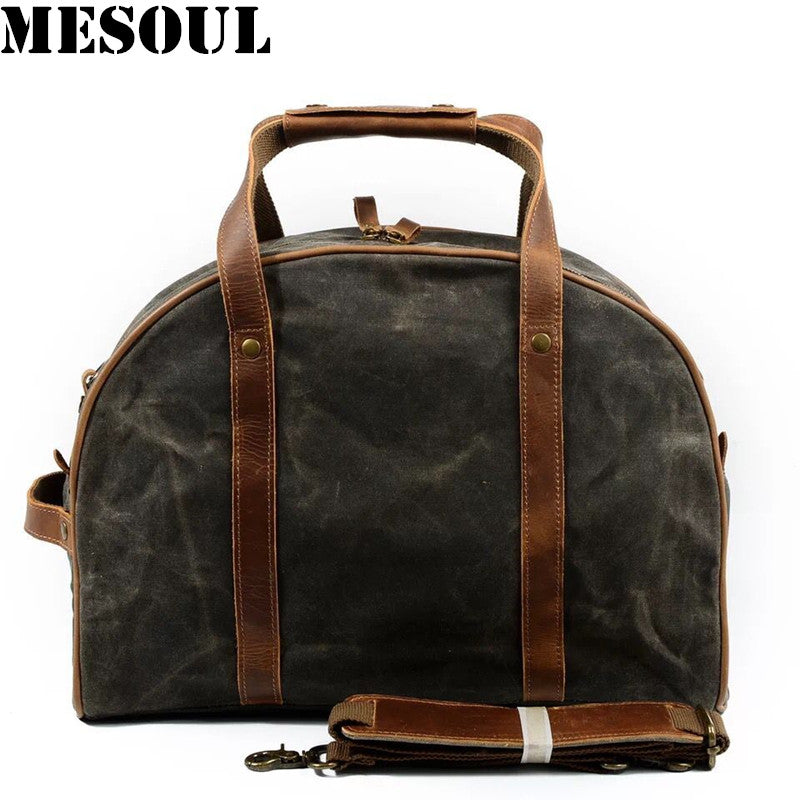 2a74d85ba3 Waterproof Carry On Luggage Travel Bags Men Canvas Leather Duffle Bag Women  Travel Tote Large Capacity