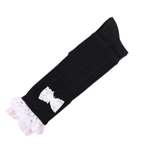 Women Warmer Cotton Lace Bowknot Boot Cuffs Toppers Overknee