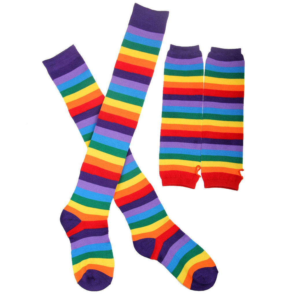 Ladies Rainbow Strips Warmer Colorful Thigh High Socks & Fingerless Gloves