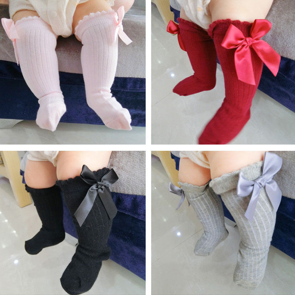 New Kids Toddlers Girls Big Bow Cotton Knee High Lace Baby Socks