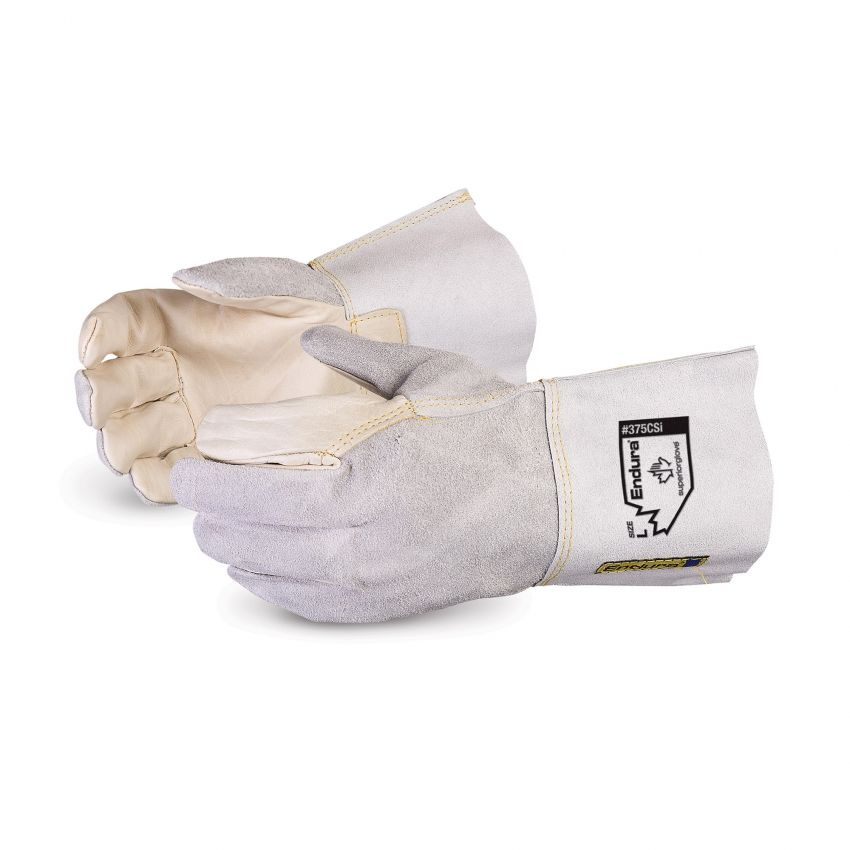 Reusable Gloves Superior Glove 375CSiS Glove Cowgrain Leather Palm / Split Back Kevlar Sewn - 4 Inch Split Leather Cuff (Small)