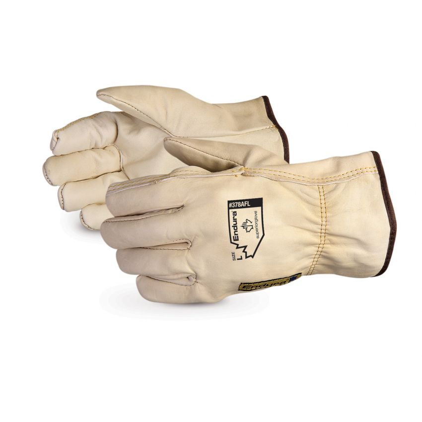 Reusable Gloves Superior Glove 378AFLS Cowgrain Drivers Glove with Elastic Back and Fleece Lined (Small)