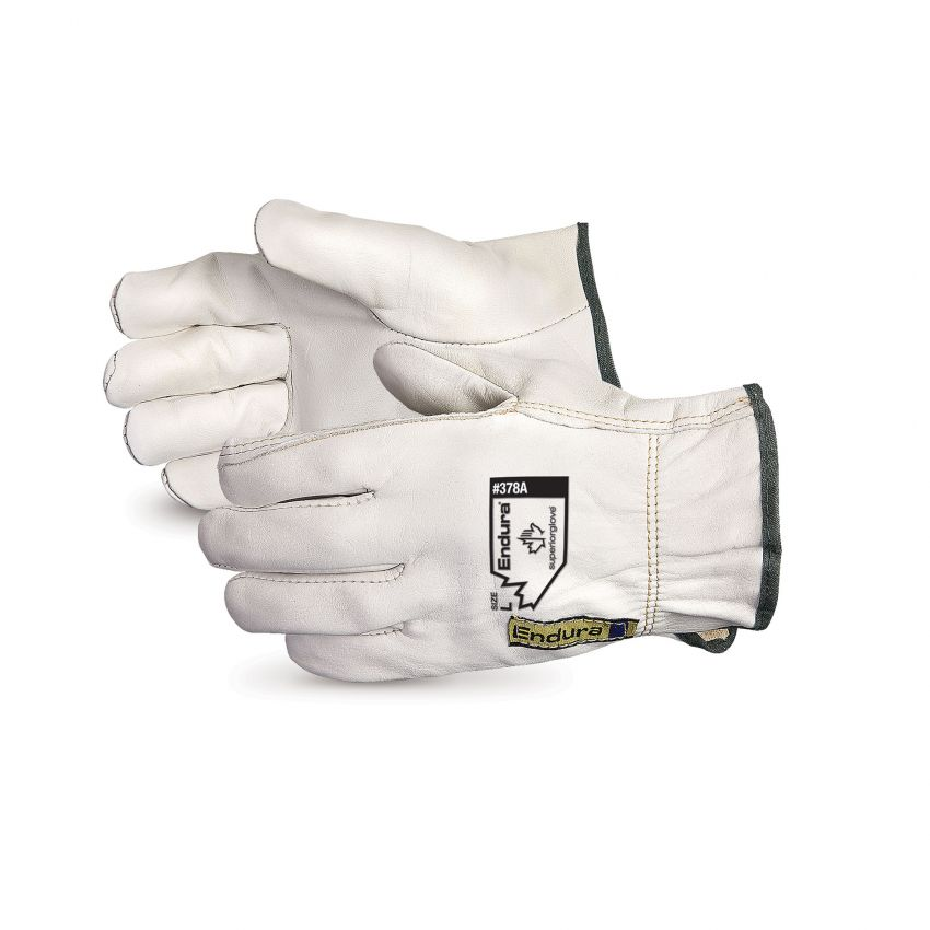 Reuseable Superior Glove 378AFLXL Endura Cowgrain Drivers Glove Elastic Back Fleece Lined