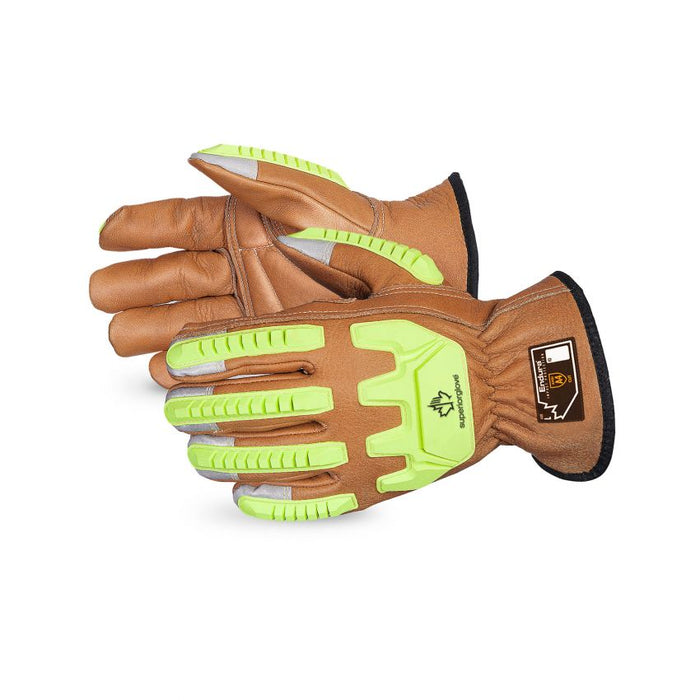 Reusable Gloves Superior Glove 378CKGVBXS Oilbloc Cowgrain leather Drivers Glove Blended Kevlar Lined (X-Small)