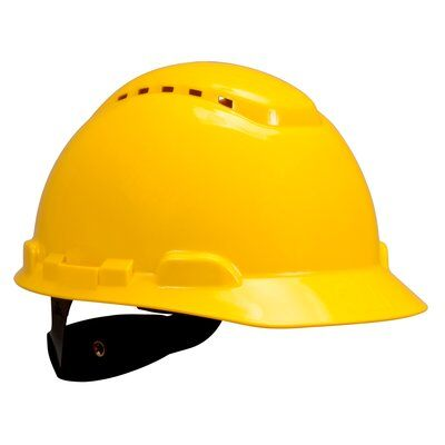 Hard Hats 3M H-702V-UV Hard Hat 4-Point Ratchet Suspension With Uvicator Sensor Vented Yellow