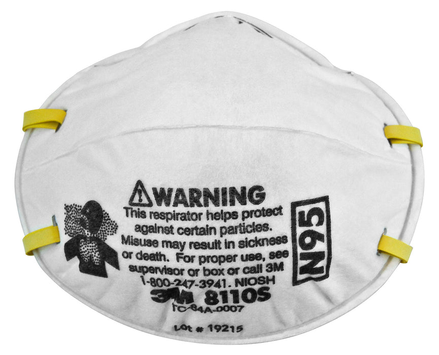 Disposable Respirators 3M 8110S N95 Particulate Respirator Filter Facemask 8110S (Small)