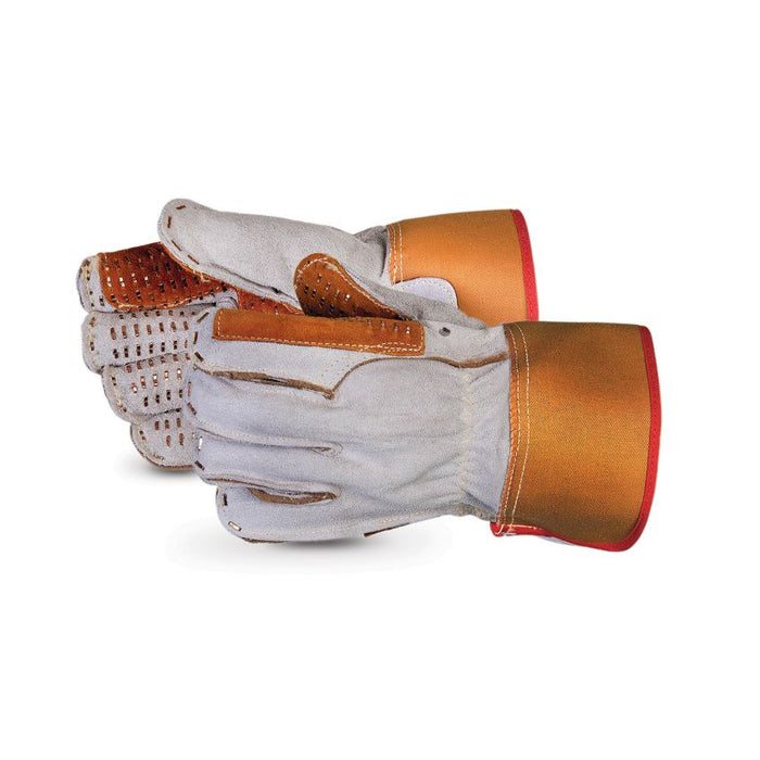 Superior Glove 66BSSRD Deluxe Heavy Duty Split Leather Double Palm Glove Steel Stitched Palm & All Fingers