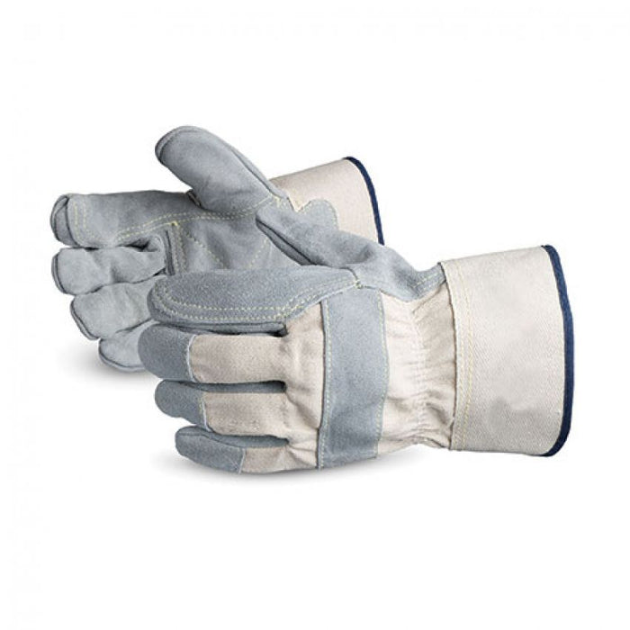 Reusable Gloves Superior Glove 69BRR Leather Side-Split Fitters Gloves with Double Palm and Safety Cuff (Large)
