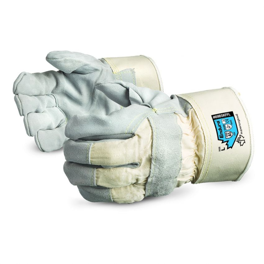 Reusable Gloves Superior Glove 69BSKFFLXL Side-Split Leather Fitters Gloves with Blended Kevlar Lining and Safety Cuffs (X-Large)