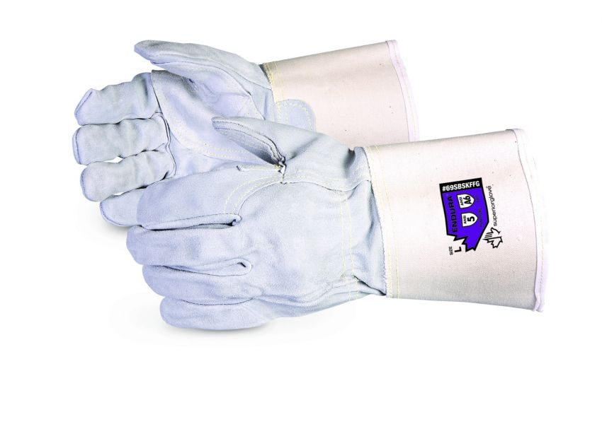 Reusable Gloves Superior Glove 69SBSKFFGM Side-Split Leather Fitters Gloves with Blended Kevlar Lining - 4 Inch Cuff (Medium)