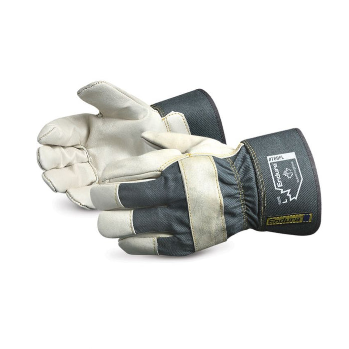 Reusable Gloves Superior Glove 76BFL Cowhide Fitters Gloves with Fleece Lining and Safety Cuffs (One Size)