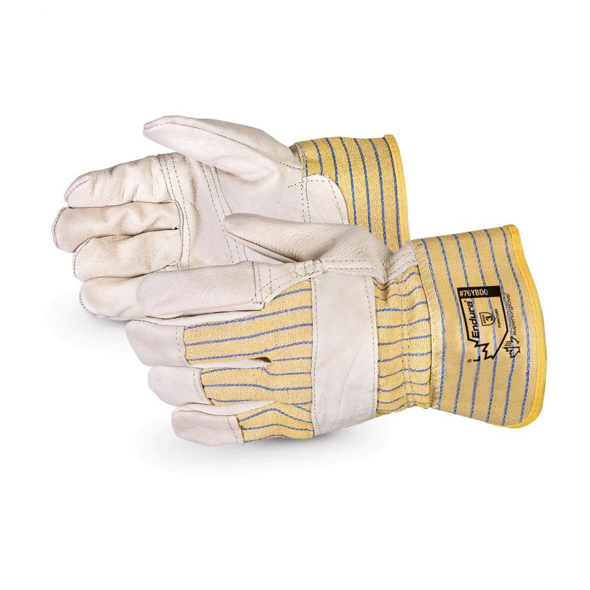 Reusable Gloves Superior Glove 76YBDQ/S Cowhide Fitters Gloves with Patch Palm and Safety Cuffs (Small)
