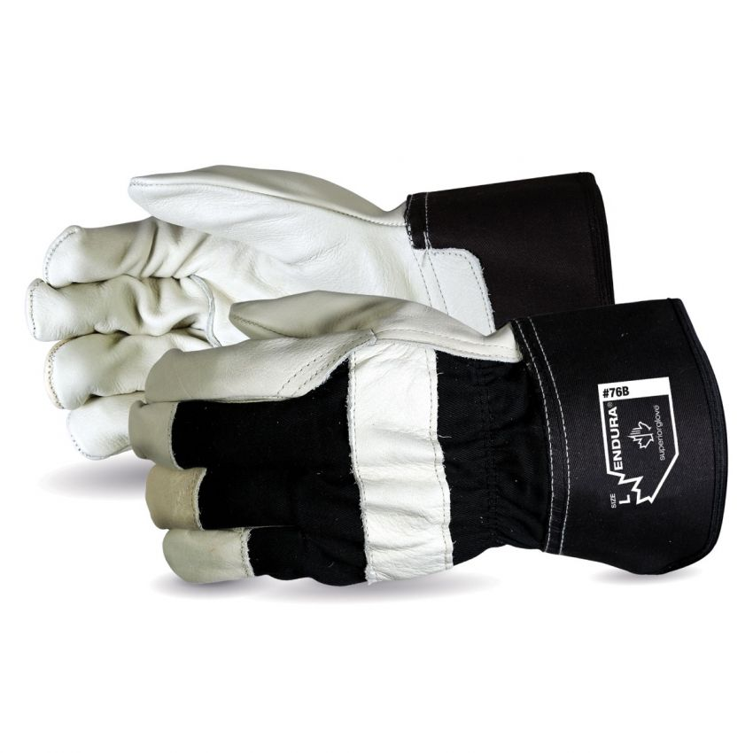 Reusable Gloves Superior Glove 76BM Cowhide Fitters Gloves Cotton Lined Palm and Safety Cuffs (Medium)