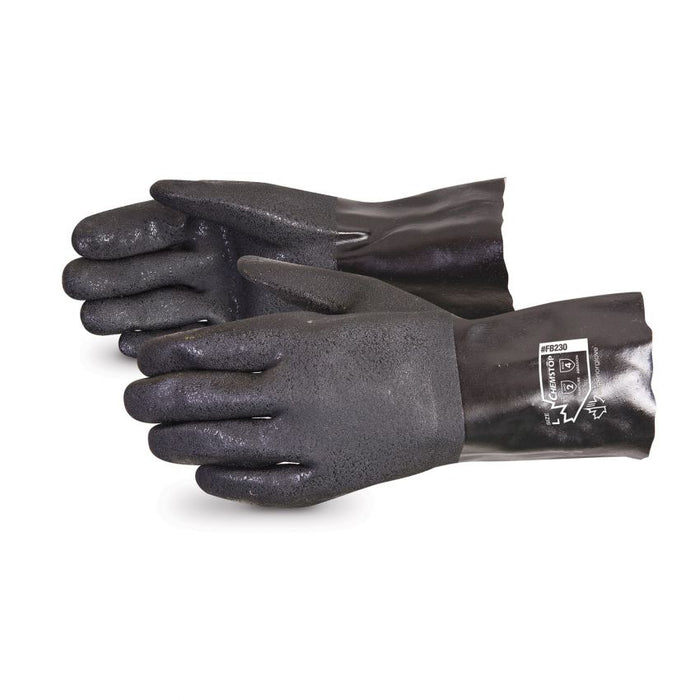 Reusable Gloves Superior Glove FB230 Black Double Dipped PVC Gloves with Fleece Lining  - 12 Inches in Length (10)