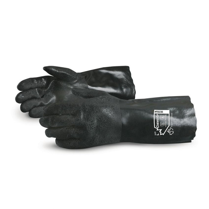 Reusable Gloves Superior Glove FB236 Black Double Dipped PVC Gloves with Fleece Lining - 14 Inches in Length (One Size)