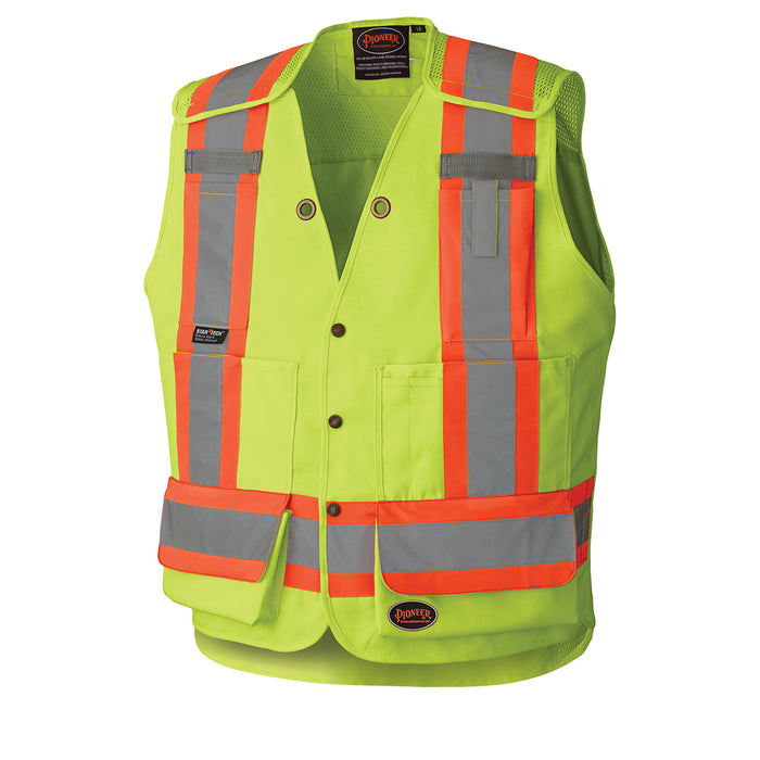 Vests Pioneer V1010860-XL Hi-Viz Drop Shoulder Tear-Away Surveyor'S Safety Vest