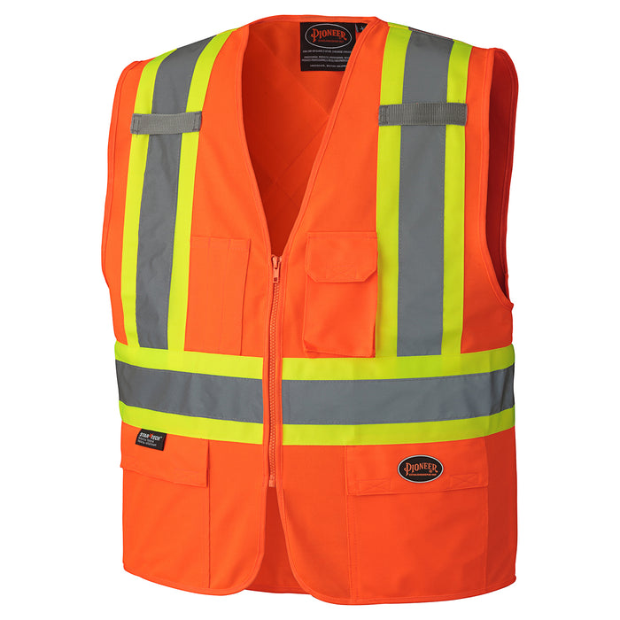 Vests Pioneer V1022150-2XL Hi-Viz Zipper Front Safety Vest