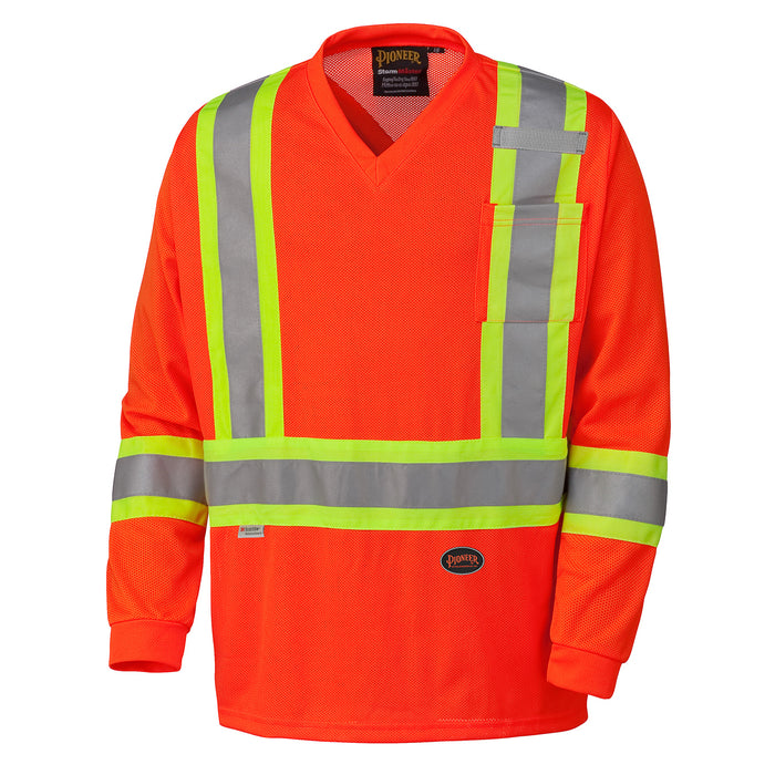 Shirts Long Sleeved Pioneer V1050950-4XL Hi-Viz Traffic Micro Mesh Long-Sleeved Safety Shirt
