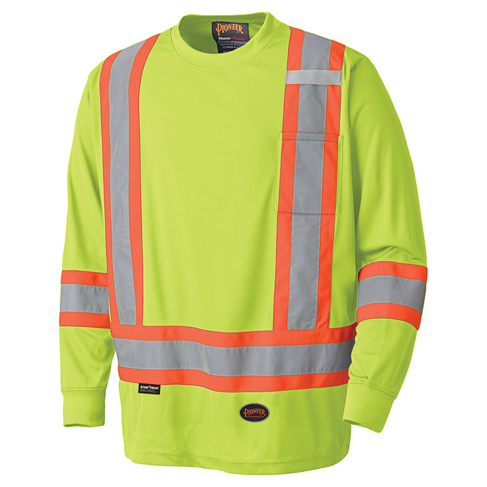 Shirts Long Sleeved Pioneer V1051260-L Birdseye Long-Sleeved Safety Shirt