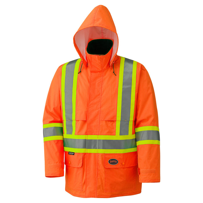 Jackets with Hoods Pioneer V1090150-XS Hi-Viz 150D Lightweight Waterproof Safety Jacket with Detachable Hood (X-Small)