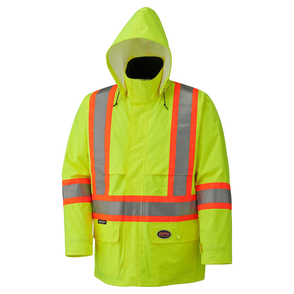 Jackets with Hoods Pioneer V1090160-XL Hi-Viz 150D Lightweight Waterproof Safety Jacket with Detachable Hood (X-Large)