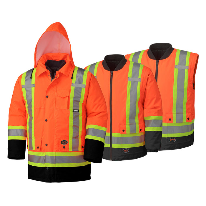 Parkas Pioneer V1120151-S Hi-Viz 100% Waterproof 6-In-1 Parka (Small)