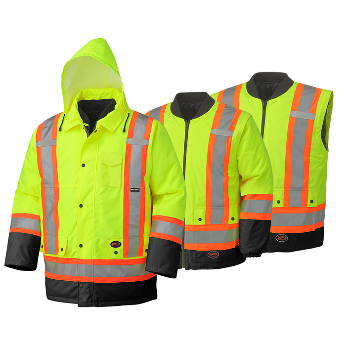 Parkas Pioneer V1120161-M Hi-Viz 100% Waterproof 6-In-1 Parka (Medium)