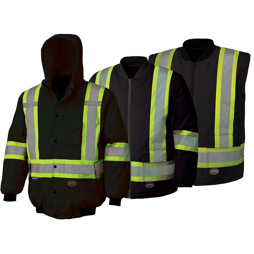 Bomber Jackets Pioneer V1120370-L Hi-Viz 100% Waterproof 6-In-1 Bomber Jacket in Black (Large)