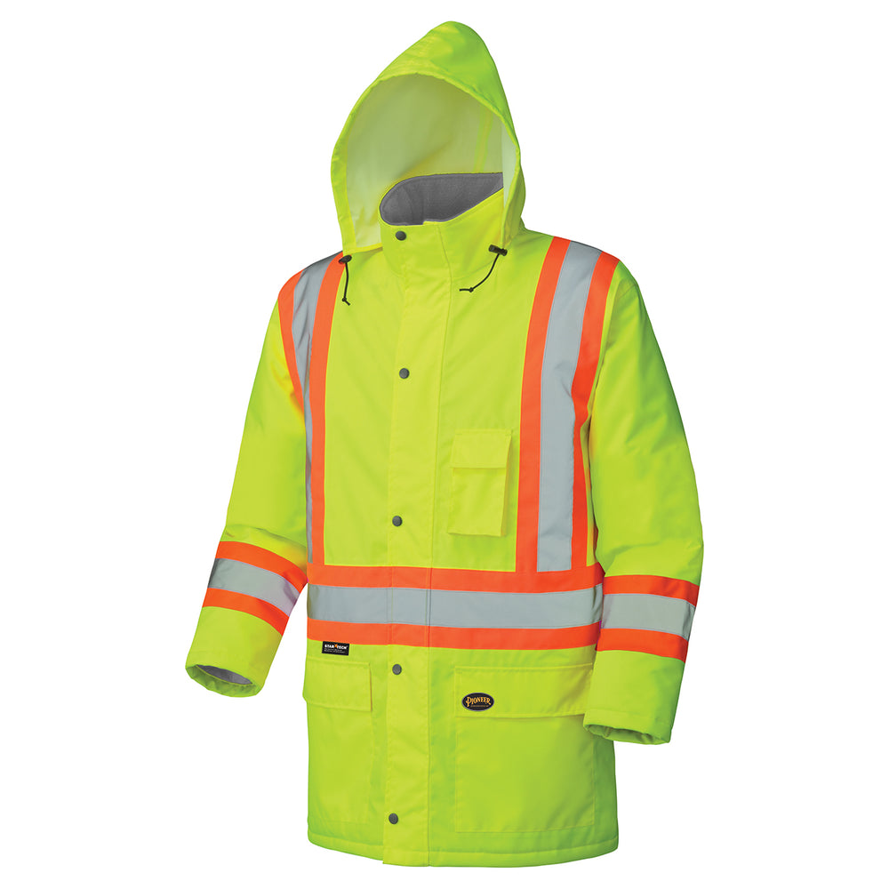 Parkas Pioneer V1150160-3XL Hi-Viz 100% Waterproof Winter Quilted Safety Parka (3X-Large)