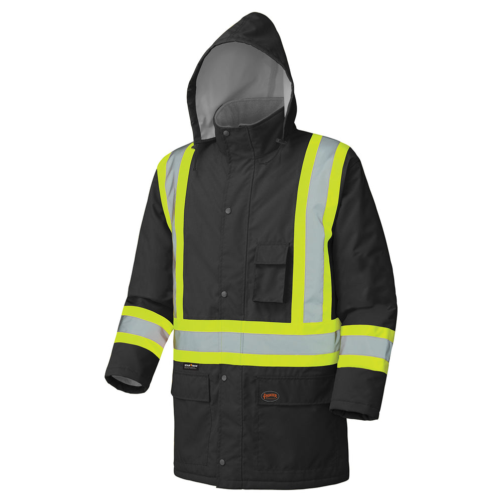 Parkas Pioneer V1150170-4XL Hi-Viz 100% Waterproof Winter Quilted Safety Parka (4X-Large)
