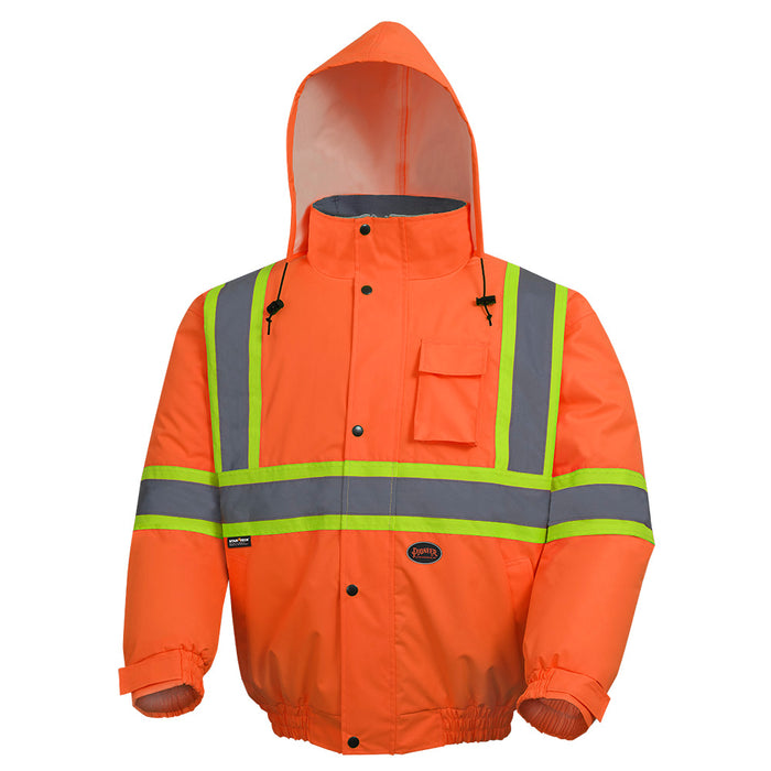 Bomber Jackets Pioneer V1150250-2XL Hi-Viz 100% Waterproof Winter Quilted Safety Bomber (2X-Large)