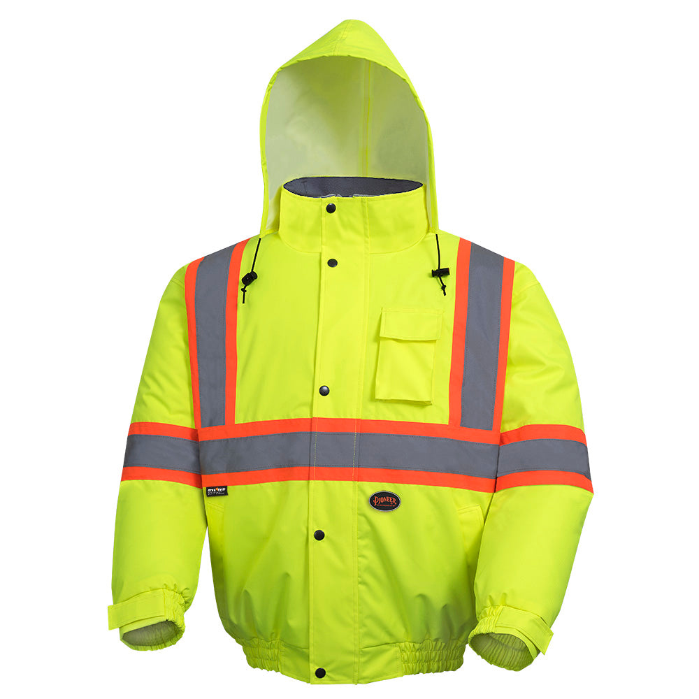 Bomber Jackets Pioneer V1150260-L Hi-Viz 100% Waterproof Winter Quilted Safety Bomber (Large)