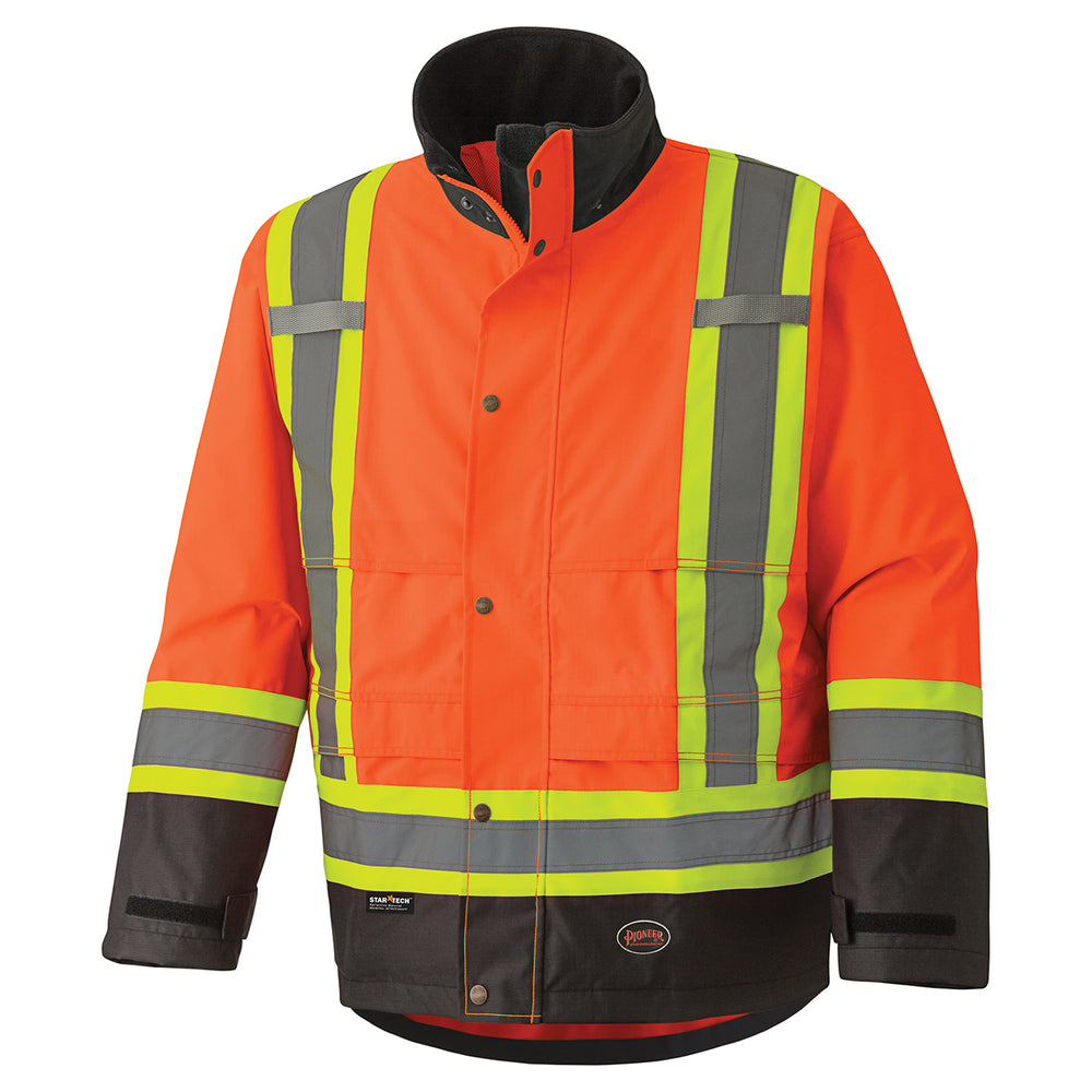 Jackets Pioneer V1200250-XL Hi-Viz 300D Ripstop Waterproof Safety Jacket (X-Large)