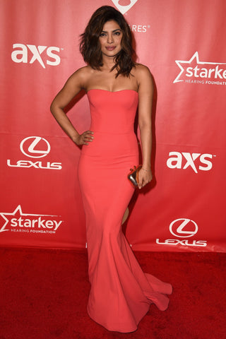 Off shoulder maxi dress red Priyanka chopra style