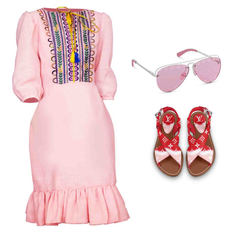 shop find us lost selena taylor fashion look casual resort dress linen pink