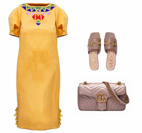 Beach wedding guest dress yellow USA