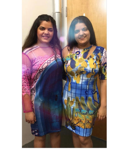 Sisters Monica and Serena Shah wearing Door dress and Serena dress