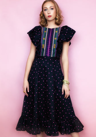 Midi wedding guest dress polka dot, maxi dress