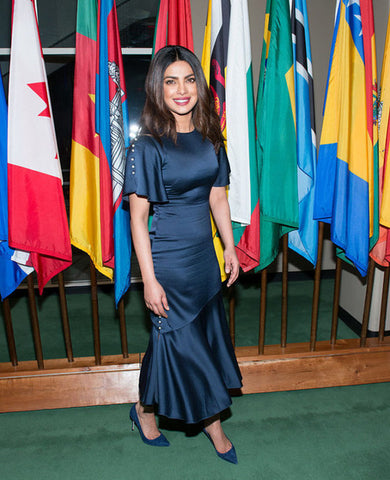 Priyanka chopra navy satin dress